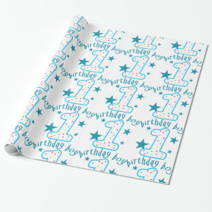 1st Birthday Baby Boy Stars Wrapping Paper