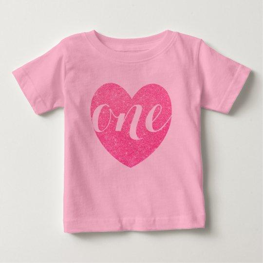 1st Birthday Baby Girl Glitter heart-Print Pink Baby