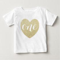 1st Birthday Baby Girl Glitter heart-Print T Shirts