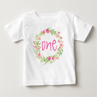 1st Birthday Baby Girl Watercolor Floral Wreath Baby T-Shirt