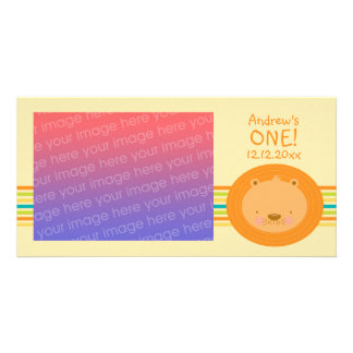 1st Birthday Baby Lion Photo Card