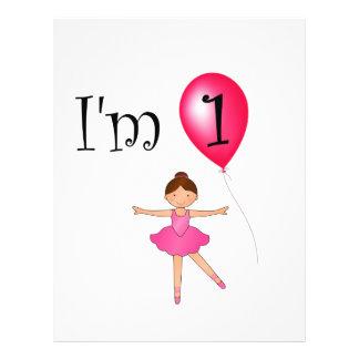 1st Birthday ballerina red balloon Flyer Design