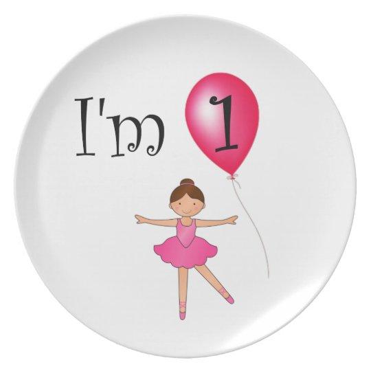 1st Birthday ballerina red balloon Party Plates