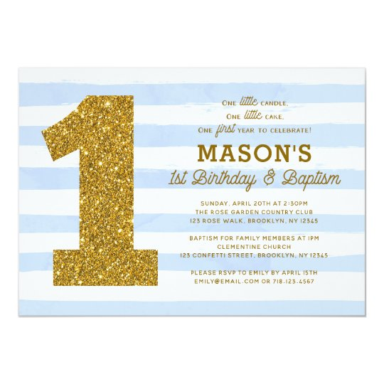1st Birthday Baptism Invitation Boy Blue Stripes
