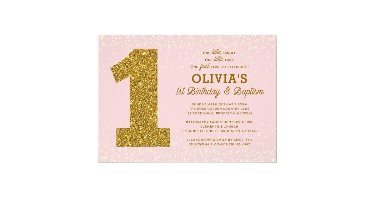 1st Birthday Baptism Invitation Pink Gold Girl   Zazzle.co.uk