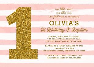 1st birthday invitations announcements zazzle uk 1st birthday baptism invitation pink white gold stopboris Choice Image
