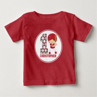 1st Birthday Baseball Batter Red and White Baby T-Shirt