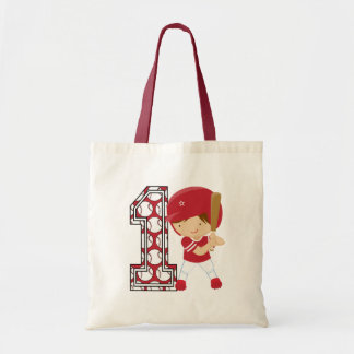 1st Birthday Baseball Batter Red and White Budget Tote Bag