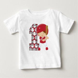 1st Birthday Baseball Batter Red and White Infant T-Shirt