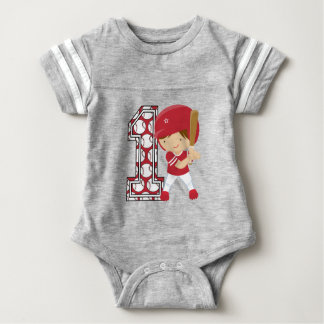 1st Birthday Baseball Batter Red and White T Shirt
