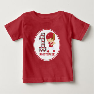 1st Birthday Baseball Batter Red and White T-shirts