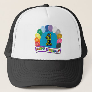 1st Birthday Baseball Cap with Assorted Balloons