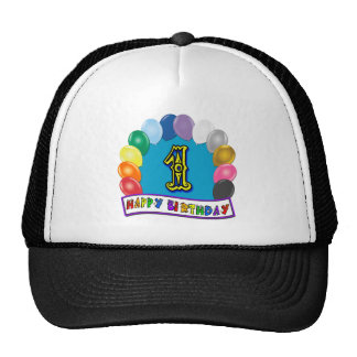 1st Birthday Baseball Cap with Assorted Balloons Trucker Hats