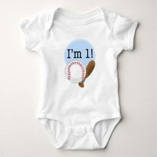 1st Birthday Baseball Kids Baby Bodysuit