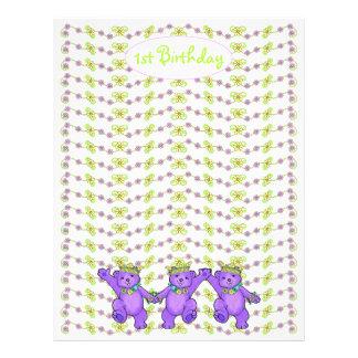 1st Birthday Bear Custom Scrapbook Paper 2 21.5 Cm X 28 Cm Flyer