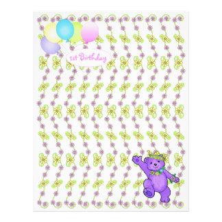 1st Birthday Bear Custom Scrapbook Paper 3 21.5 Cm X 28 Cm Flyer
