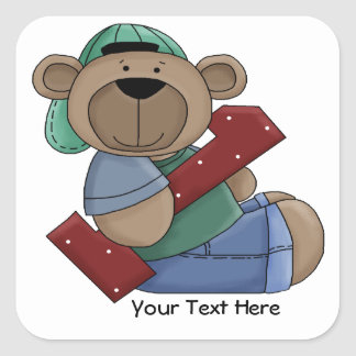 1st Birthday Bear (customizable) Square Sticker