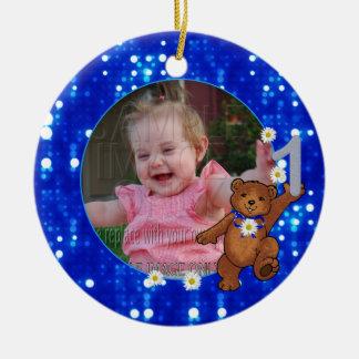 1st Birthday Bear for Girls Custom Photo Round Ceramic Decoration