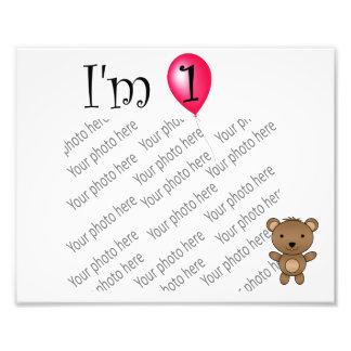 1st Birthday bear red balloon Photographic Print