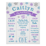 1st Birthday Birthday Poster Winter Snowflakes