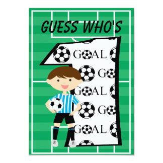 1st Birthday Blue and White Soccer Goal Invitation