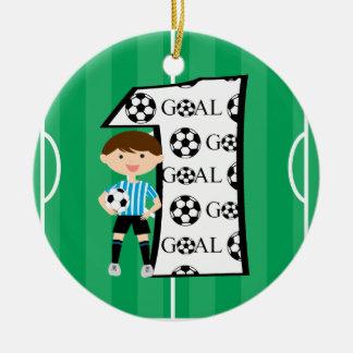 1st Birthday Blue and White Soccer Goal Ornament