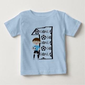 1st Birthday Blue and White Soccer Goal T-Shirt