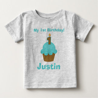 1st Birthday Blue Cupcake with Candle Baby T-Shirt
