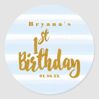 1st Birthday Blue & Gold Foil Watercolor Sticker