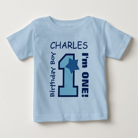 1st Birthday Boy BLUE One Year Custom Name