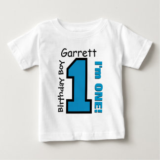 1st Birthday Boy BLUE One Year Custom Name V007A Baby T-Shirt