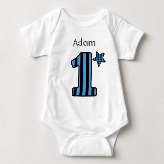 1st Birthday Boy BLUE STRIPES Custom Name V01B Baby Bodysuit