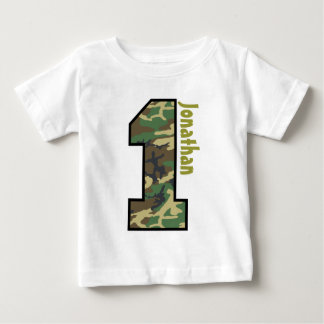 1st Birthday Boy Camo One Year Custom Name V007A Baby T-Shirt