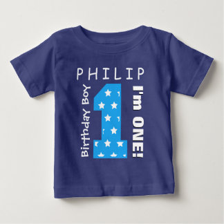 1st Birthday Boy One Year Blue Stars V01H Baby T-Shirt