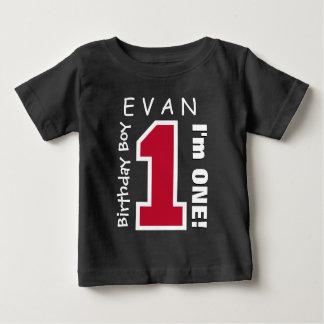 1st Birthday Boy One Year Custom Name Red V01B Baby T-Shirt