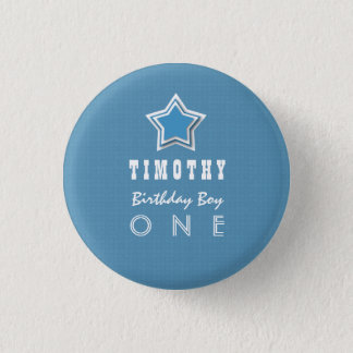 1st Birthday Boy One Year Old Blue White Star D03 3 Cm Round Badge
