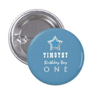 1st Birthday Boy One Year Old Blue White Star D03 3 Cm Round Badge