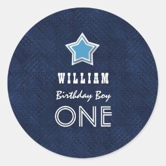 1st Birthday Boy One Year Old Navy White Star D05Z Round Sticker