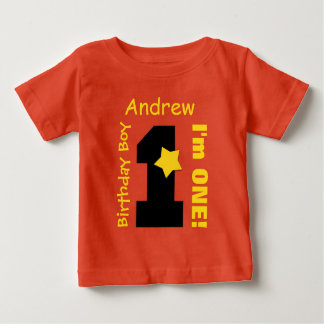 1st Birthday Boy ORANGE One Year Custom Name A07C Baby T-Shirt