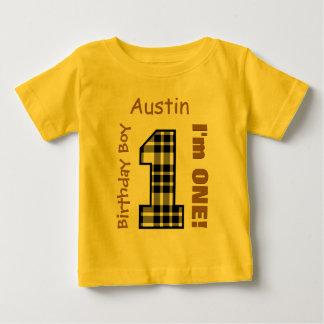 1st Birthday Boy PLAID 1 Year Custom Name V12B Baby T-Shirt
