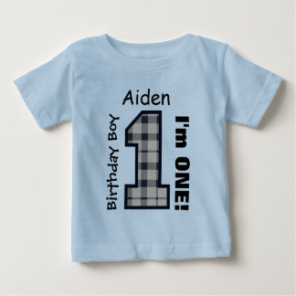 1st Birthday Boy PLAID One Year Custom Name V10 Baby T-Shirt