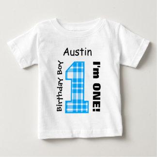 1st Birthday Boy PLAID One Year Custom Name V14A Baby T-Shirt