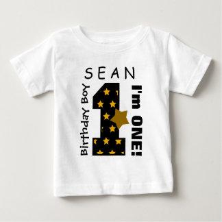 1st Birthday Boy Stars One Year Custom Name V006C Baby T-Shirt