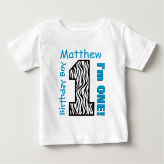 1st Birthday Boy Zebra One Year Custom Name V005 Baby T-Shirt