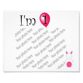 1st Birthday bunny red balloon Photo Art