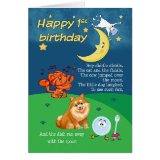 1st Birthday Card, 1st Birthday Hey Diddle Diddle Greeting Card