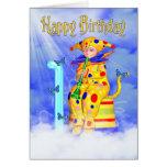 1st Birthday Card - Cute Little Pixie Clown