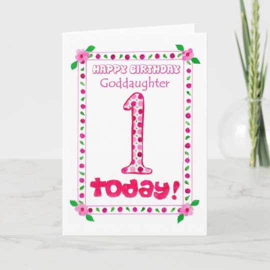 1st Birthday Card For A Goddaughter Zazzle