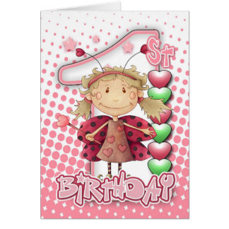 1st Birthday Card With Little Fairy All In Pinks