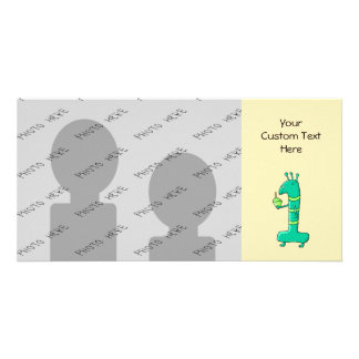 1st Birthday Cartoon Green Customized Photo Card